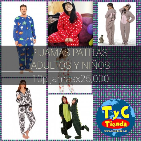 pack Pijamas con patitas adultos y niños